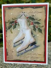 Handmade MERRY CHRISTMAS Greeting CARD KIT Ice Skates 4 Cards with Envelopes