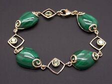 14k Yellow Gold Malachite Peridot Green Tennis Link Bracelet 7.25 inch