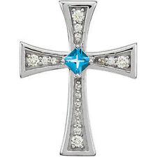 ORIGINAL Suizo Topacio Azul & Diamante Cruz 45.7cm Collar en 14k ORO BLANCO