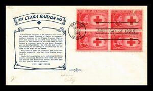 US COVER CLARA BARTON RED CROSS FDC SCOTT 967 BLOCK OF 4 PENT ARTS CACHET