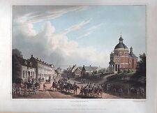 Waterloo-vista con movimientos de tropas muy bella aquatinta 1815-original!!!