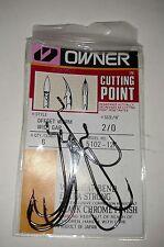 New Owner 2/0 Offset Worm Wide Gap Black Chrome, 5102-112, 6 Hook pack
