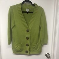 Chicos Womens Cardigan Size 1/Small Lime Open Chunky knit 3/4 Sleeves Cable