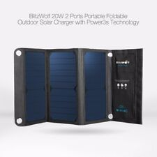 BlitzWolf 20W 3A Foldable Portable Solar Charger USB Dual Port Phone Charger