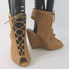 """new ladies Tan 4.5""""High Wedge Heel Open Toe Lace Up Sexy Shoes Size 9"""