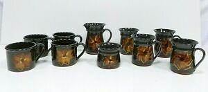 Dunster Studio Pottery Flower Design Vintage Cup Mug Milk Jug Sugar Bowl (J4)