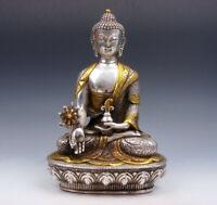 Vintage Tibetan Silver Plated Gold Gilt Large Tibetan Bhaisajyaguru Buddha