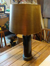 vintage Pottery lamp & brass top & bottom with gold Shade