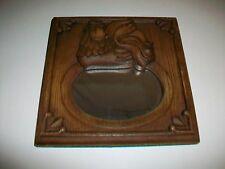"Vintage Chicken Hen on framed Mirror by Ms.C. 8 1/4"" square"