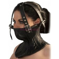 Roleplay Lacing Neck Collar Head Fixation Harness Half Face Mask Hood For Couple