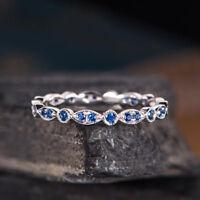 1ct Round Blue Sapphire Vintage Wedding Anniversary Band 14k White Gold Finish