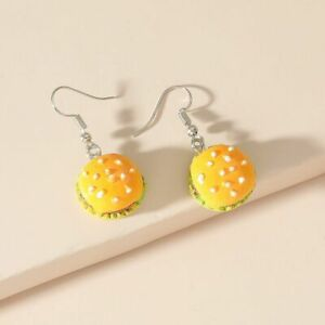 AU Seller Hamburger Burger Food Drop Dangle Pendant Hook Style Earrings