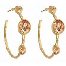 Stunning Matte Gold and Cirtine Hoop earrings