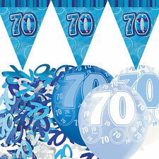 Blue Silver Glitz 70th Birthday Flag Banner Party Decoration Pack Kit Set