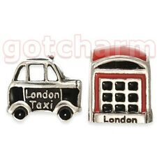 Rhona Sutton Sterling Silver PHONE BOX & LONDON TAXI Charm Beads