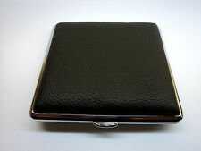 Metal Leather Cigarette Case (Black) - (BK-300-L)