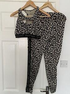 Pink Soda Leopard Gym Leggings And Sports Bra - Size 12