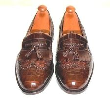 Giorgio's Palm Beach Brown Alligator & Leather Wing TipTassel Loafer Spain 11.5