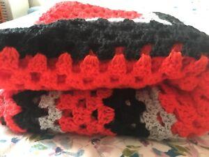 Red black grey crochet large square throw blanket glamping campervan