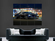 BLACK BUGATTI SPORTS CAR POSTER PRINT WALL ART IMAGE PICTURE