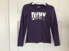DKNY NWT Girls Tee Top Shirt T-Shirt Logo Cityscape New York Purple M 8 10