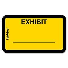 "Tabbies Legal Exhibit Labels ""Exhibit"" 1-5/8""x1"" 252/PK Yellow 58090"
