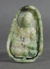 Chinois Bouddha en jade & Lotus Leaf Pendentif 19/20TH C.