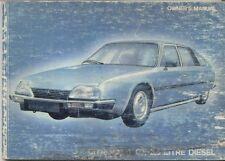 Citroen CX 2500 Diesel 1981-82 Original Owners Manual (Handbook) in English