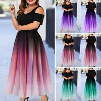 Womens Plus Size A-line Dress Short Sleeve Cold Shoulder Cocktail Party Dresses
