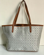 NEW TOMMY HILFIGER SILVER GRAY OFF-WHITE SHOPPER SATCHEL TOTE BAG PURSE $85 SALE
