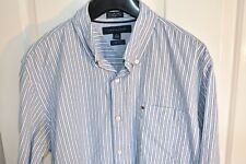 "Mens Tommy Hilfiger Long Sleeve Blue 2 Ply Striped Shirt M 15 1/2-16"" Custom Fit"