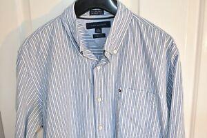 "Mens Tommy Hilfiger Long Sleeve Blue 2 Ply Striped Shirt M 15 1/2-16"" Custom Fit"