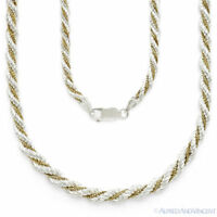 .925 Sterling Silver Twist Rope 14k Gold Plated Box Link Italian Chain Necklace