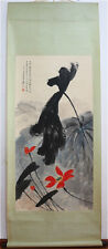 RARE Chinese 100%  Handed Painting & Scroll Lotus By Zhang Daqian 张大千 WED789