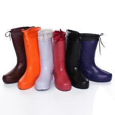 Womens Winter  Fleece Lined Waterproof Rain Shoes Wellies Thermal Mid-calf Boots