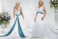 Embroidery Satin Plus Size Wedding Dress Bridal Gown Ball Prom Party Custom size