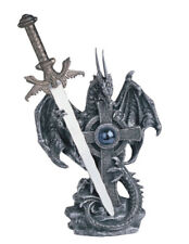 6 1/2 Inch Silver Dragon With Sword And Cross Figurine