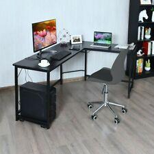Thick Steel Pipe Mdf L Shaped Desk Office Computer Glass Corner Desk Home Desk