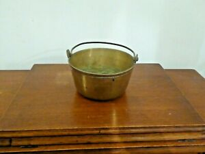 Vintage Small Brass Jam/Preserving Pan Heavy Gauge with Iron handle weight 1.1kg