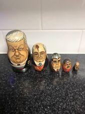 Russian Political Leaders Matryoshka Nesting Dolls Wooden Set of 5