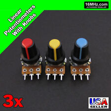 3x 100K OHM Linear Taper Rotary Potentiometers B100K POT w/ Black Knobs 3pcs U19
