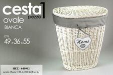 CESTA IN VIMINI OVALE PORTA BIANCHERIA HOME BIANCA H55*L49*P36 CM HEZ-640902
