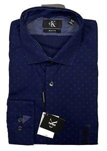 Calvin Klein Dark Blue Wrinkle Resistant Long Sleeve NWT Slim Fit 16-161/2 34/35