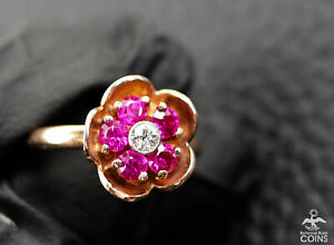 14K Rose Gold 0.10CT Diamond & Synthetic Ruby Flower Ring w/NGL Appraisal