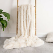 Luxury Faux Fur Throw - Extra Large 150cm x 200cm Cream Soho Spikey Ivory White