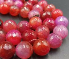 Faceted 12mm Red Dragon Veins Agate Gemstone Round Loose Bead 15''