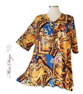 SunShine Shirt in A-Linie mit V-Ausschnitt Grafik Safari Gr. 64-78