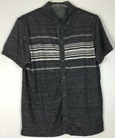 Mens Banana Republic Shirt XL Button Front Short Sleeve Striped Polyester Blend