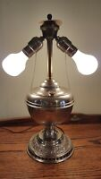 Vintage Bradley & Hubbard B&H Nickel Electrified Hurricane Oil Lamp GWTW
