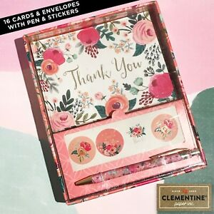 Clementine Paper Inc. Thank You Cards + Envelopes + Pen + Stickers Floral Set